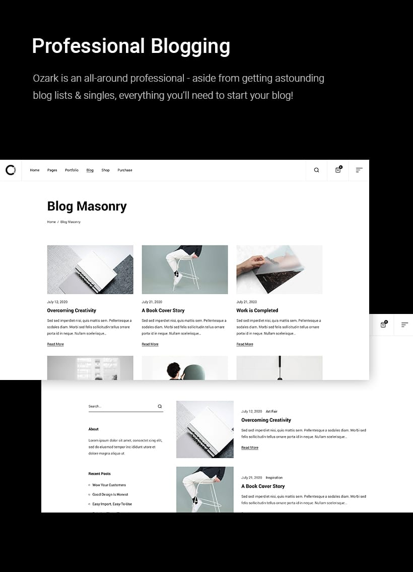 Ozark – Minimal Portfolio WordPress Theme, Gobase64